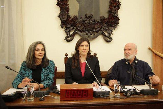 Sofia Sakorafa, Zoe Konstantopoulou e Eric Toussaint.